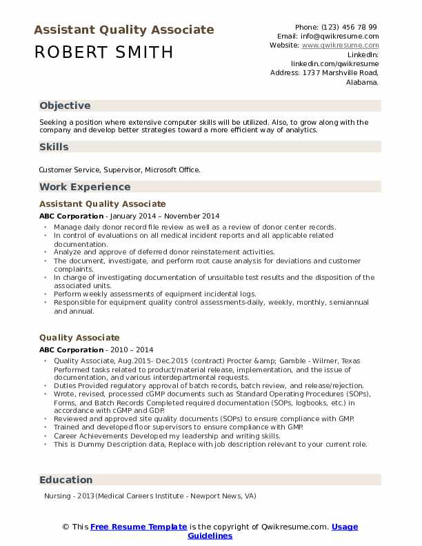Assistant Quality Associate Resume Model