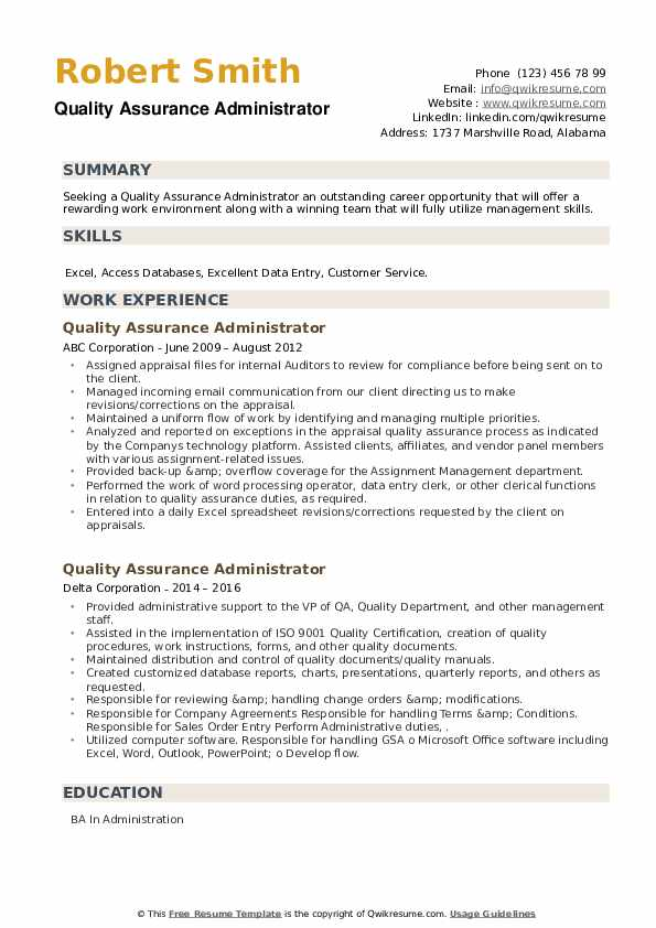 Quality Assurance Administrator Resume example