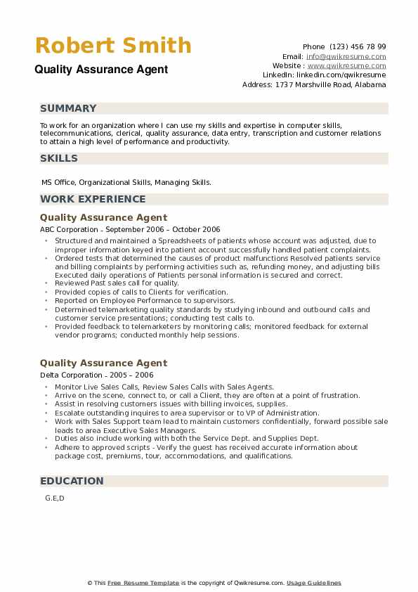 Quality Assurance Agent Resume example