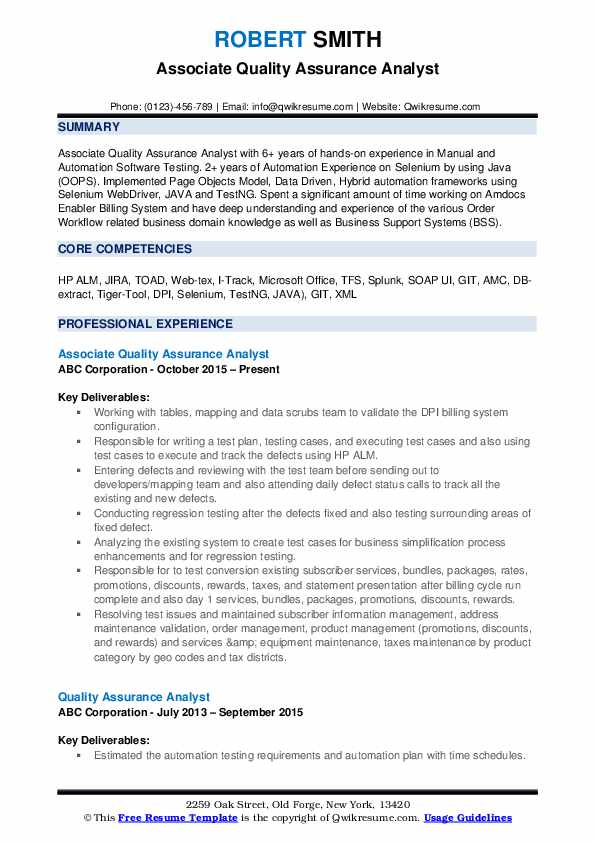 Quality Assurance Analyst Resume Samples   QwikResume