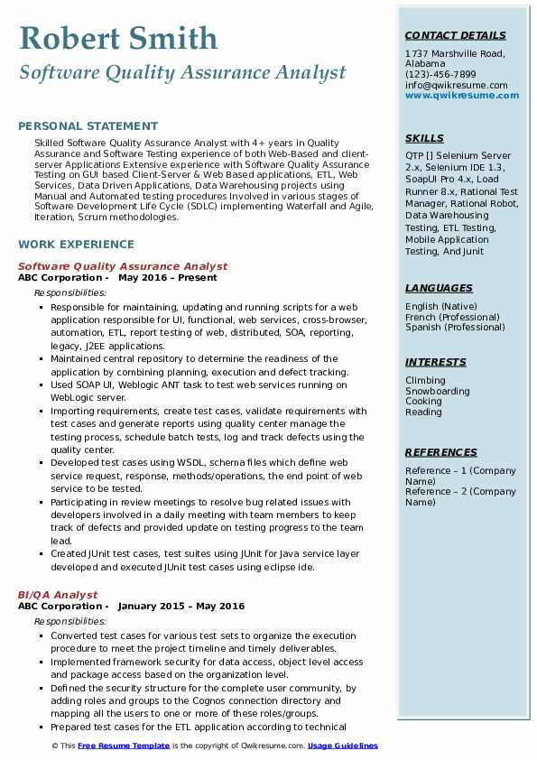 Software Quality Assurance Analyst Resume Format