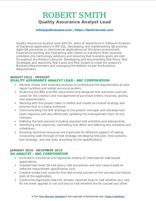 Quality Assurance Analyst Lead Resume Format