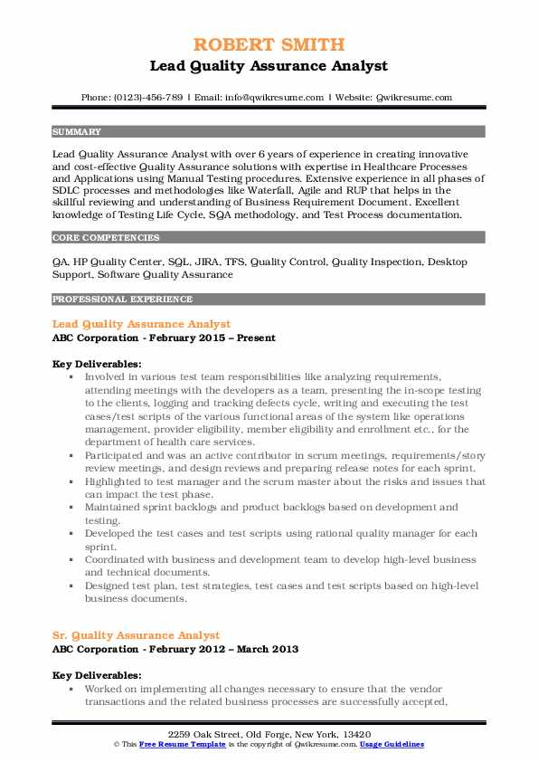 quality assurance analyst resume samples