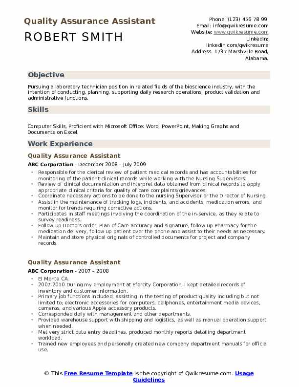 Quality Assurance Assistant Resume Model