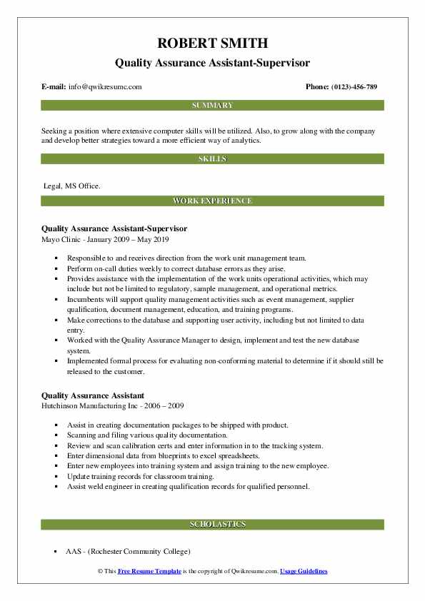 Quality Assurance Assistant-Supervisor Resume Example