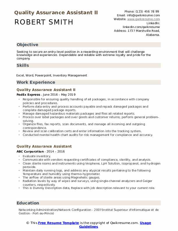 Quality Assurance Assistant II Resume Example
