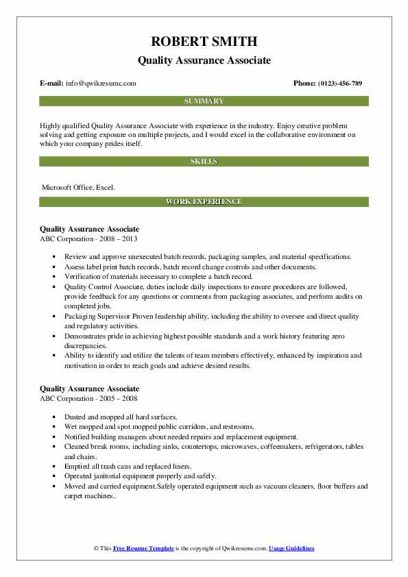Quality Assurance Associate Resume Sample