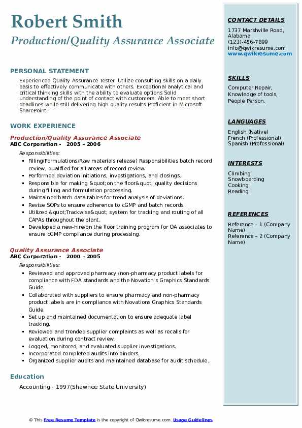 Production/Quality Assurance Associate Resume Model