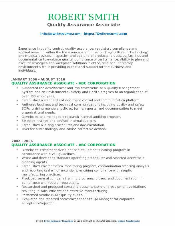 Quality Assurance Associate Resume Format