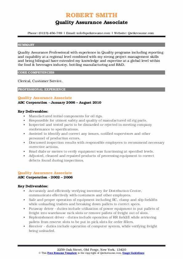 Quality Assurance Associate Resume Template