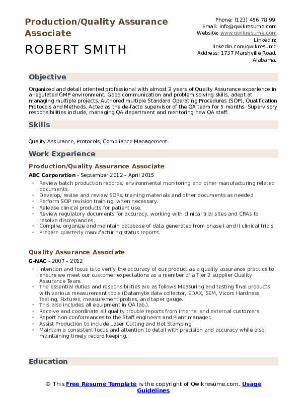 Production/Quality Assurance Associate Resume Format
