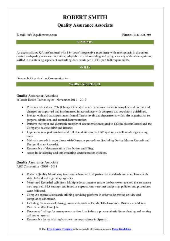 Quality Assurance Associate Resume example