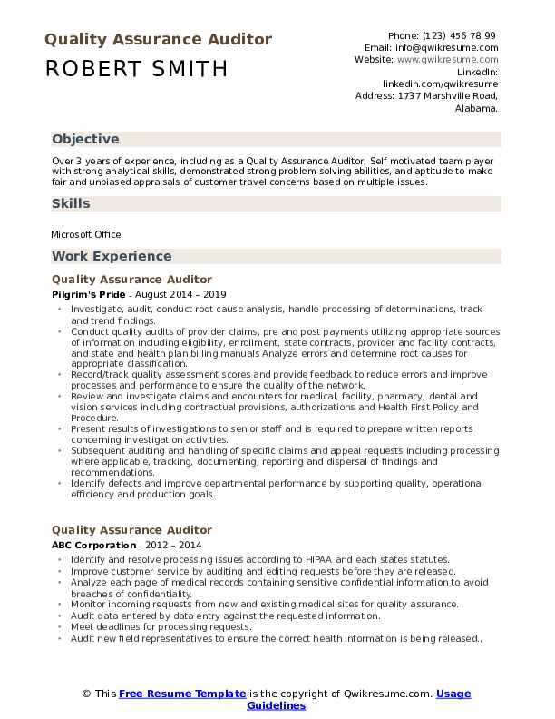 Quality Assurance Auditor Resume Format