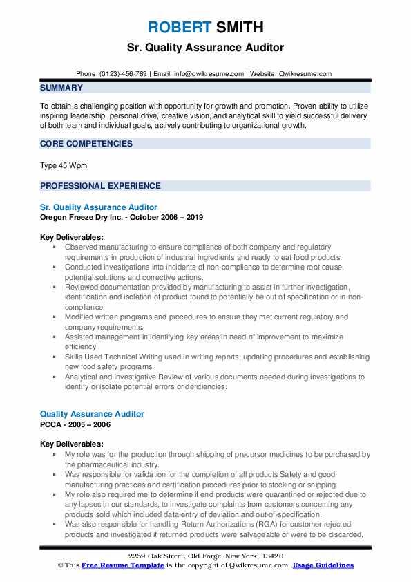 Sr. Quality Assurance Auditor Resume Example