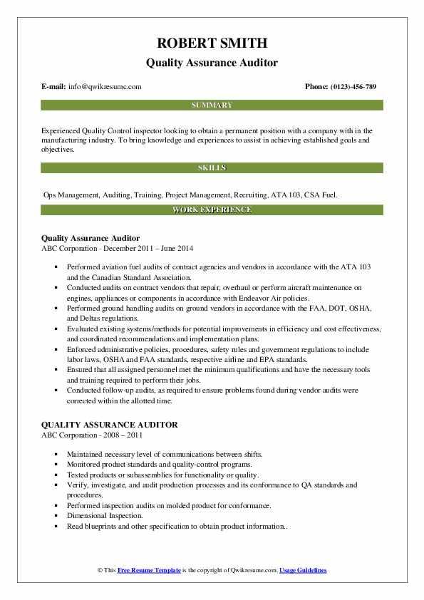 Quality Assurance Auditor Resume Sample