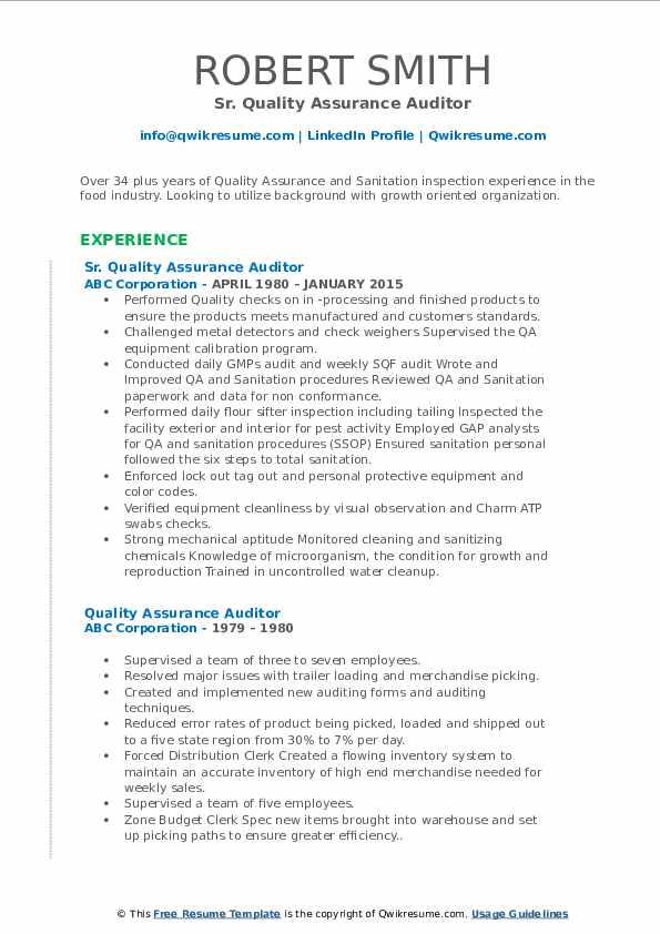 Sr. Quality Assurance Auditor Resume Template