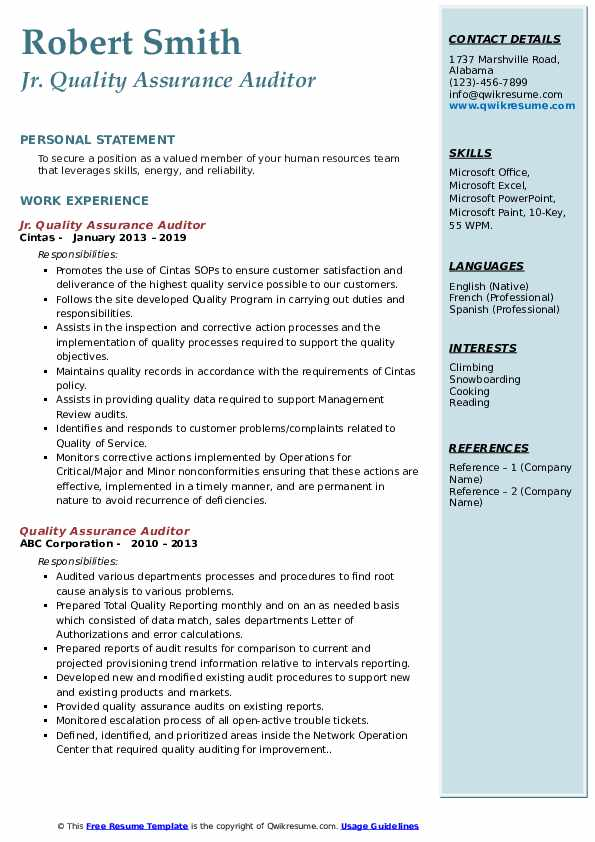 Jr. Quality Assurance Auditor Resume Template