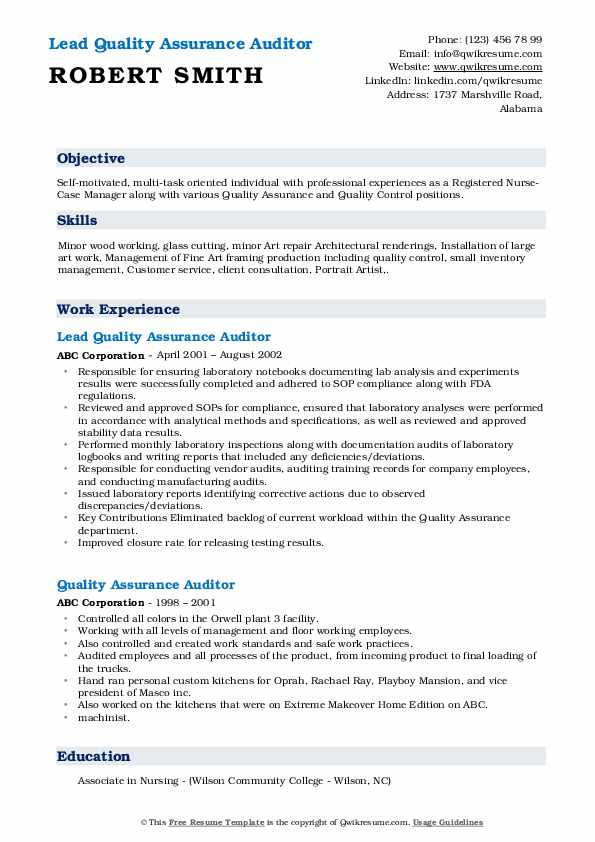 Lead Quality Assurance Auditor Resume Example