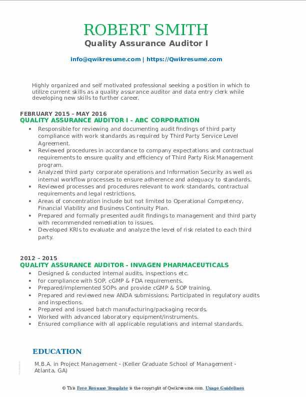Quality Assurance Auditor I Resume Model