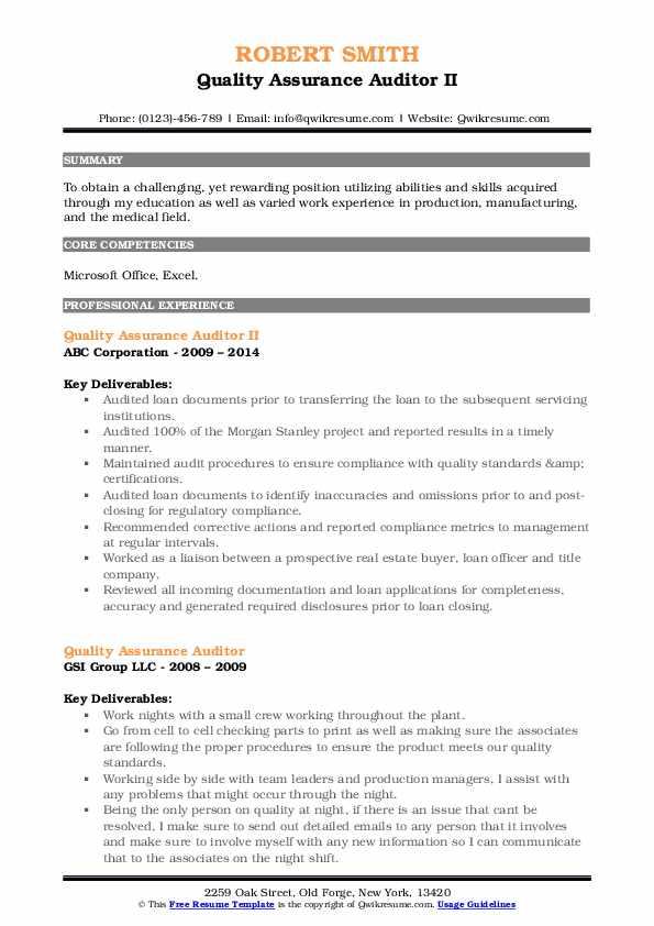 Quality Assurance Auditor II Resume Example
