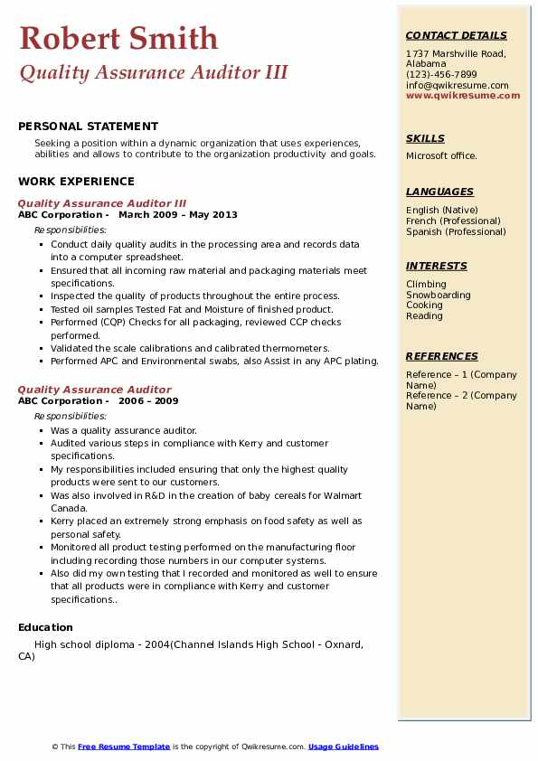 Quality Assurance Auditor III Resume Format