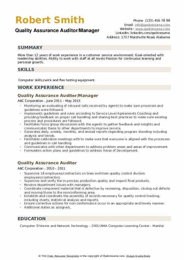 Quality Assurance Auditor/Manager Resume Format