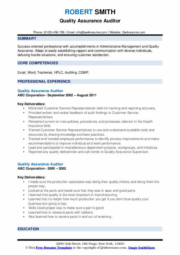Quality Assurance Auditor Resume example
