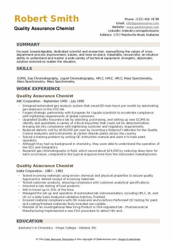Quality Assurance Chemist Resume example