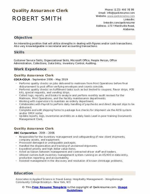 Quality Assurance Clerk Resume Samples | QwikResume