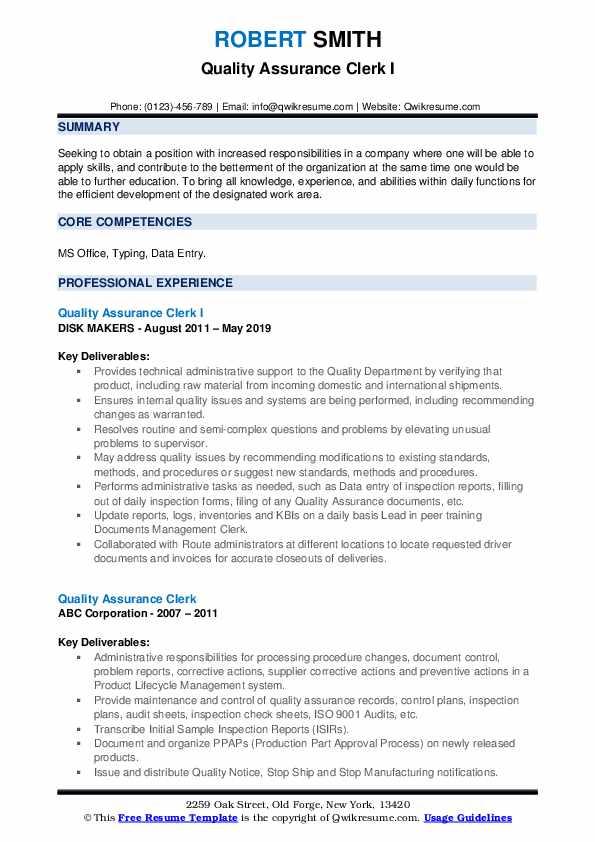Quality Assurance Clerk I Resume Model