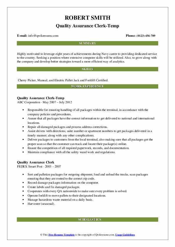 Quality Assurance Clerk-Temp Resume Example