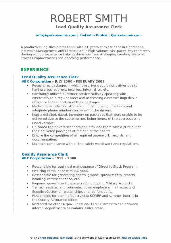 Lead Quality Assurance Clerk Resume Template