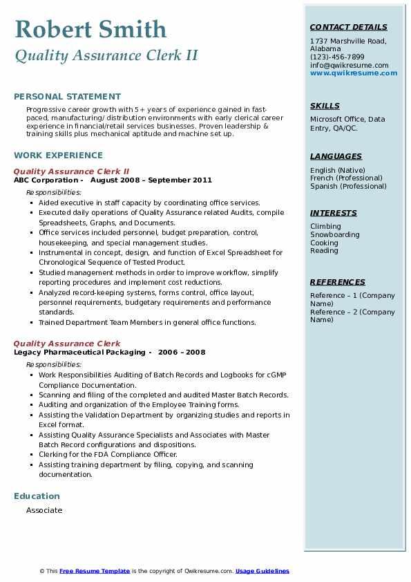 Quality Assurance Clerk II Resume Model