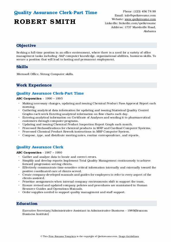 Quality Assurance Clerk-Part Time Resume Example