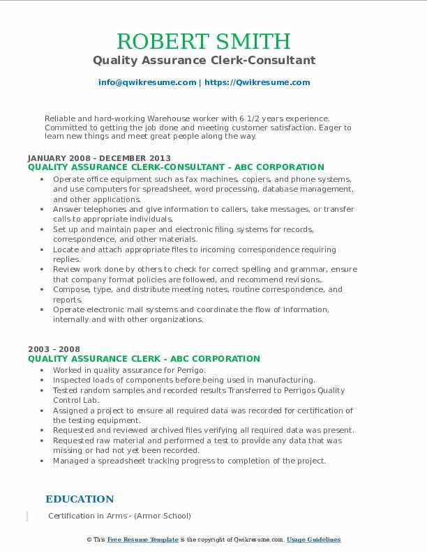 Quality Assurance Clerk-Consultant Resume Format