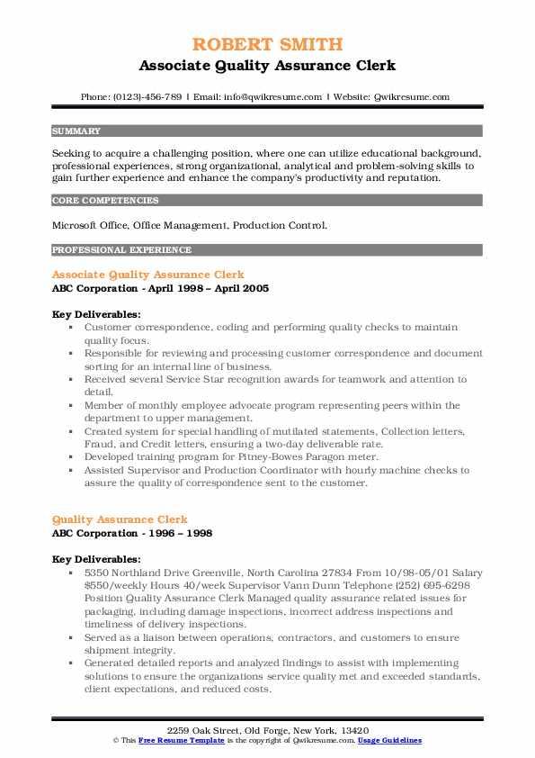 Associate Quality Assurance Clerk Resume Sample