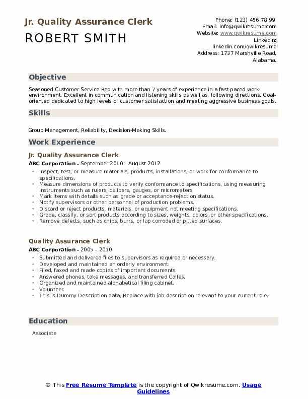 Jr. Quality Assurance Clerk Resume Sample