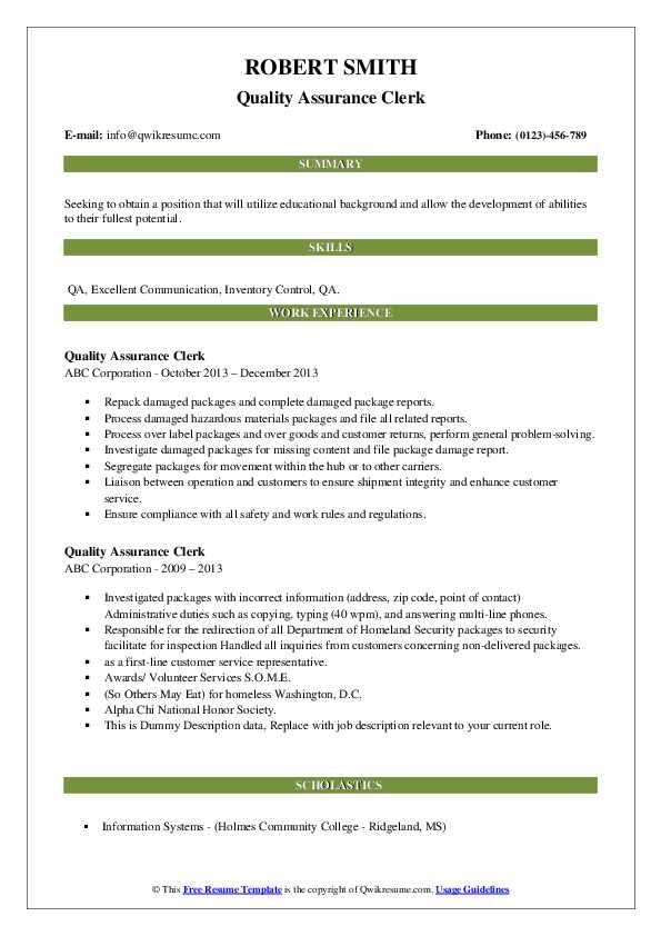 Quality Assurance Clerk Resume example