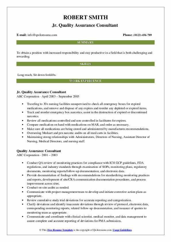 quality assurance consultant resume samples