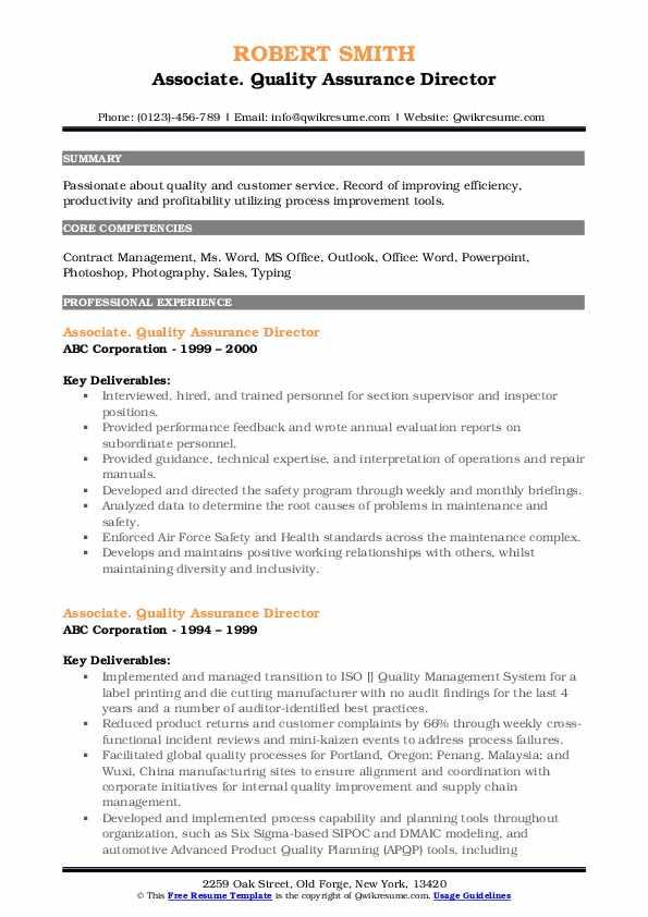 Quality Assurance Director Resume Samples | QwikResume