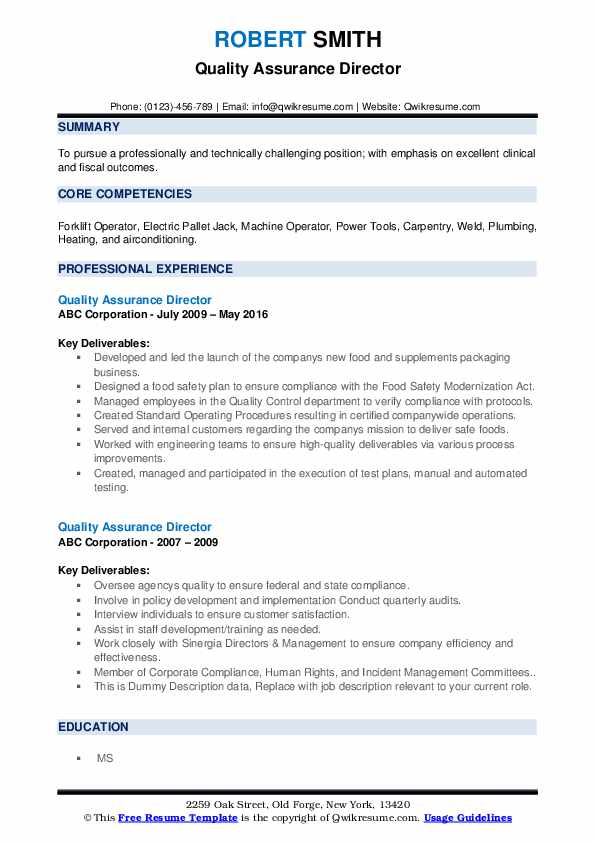 Quality Assurance Director Resume example