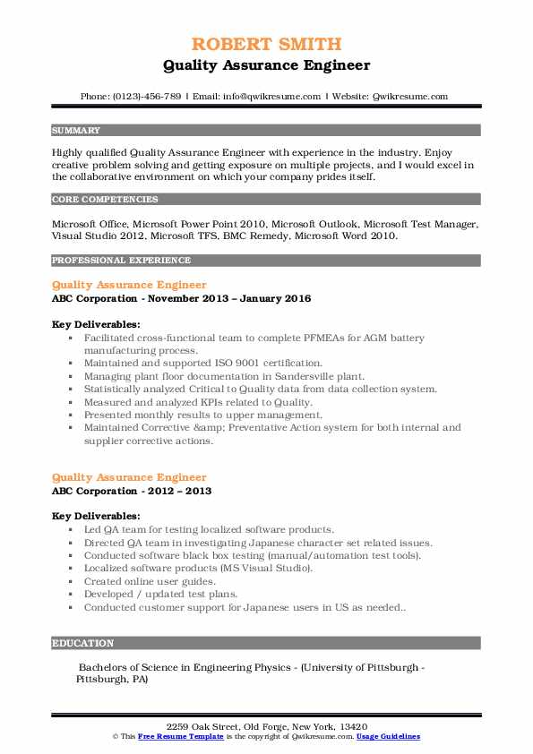 Quality Control Engineer III Resume Format