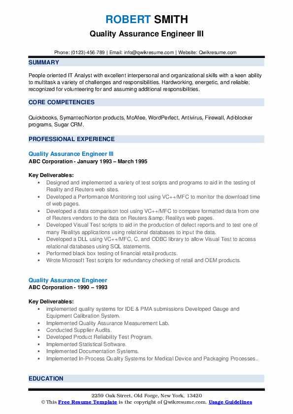 Quality Assurance Engineer III Resume Template
