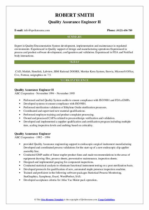 Quality Assurance Engineer II Resume Example