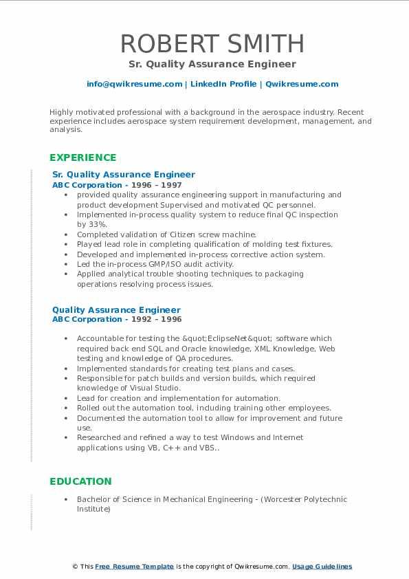 Sr. Quality Assurance Engineer Resume Sample