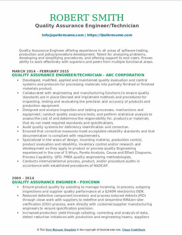 Quality Assurance Engineer/Technician Resume Model