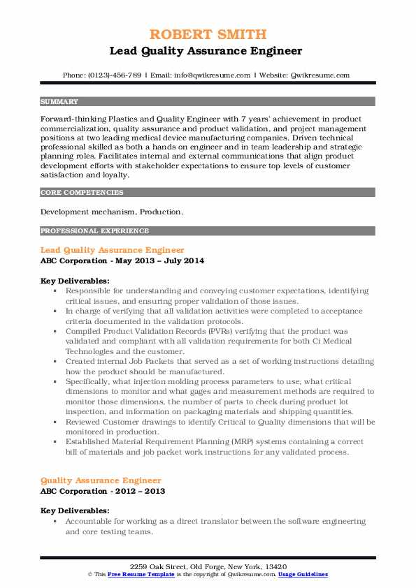 Lead Quality Assurance Engineer  Resume Format