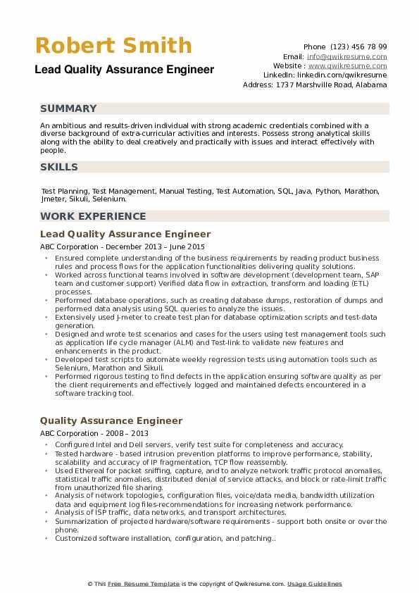 Lead Quality Assurance Engineer Resume Template