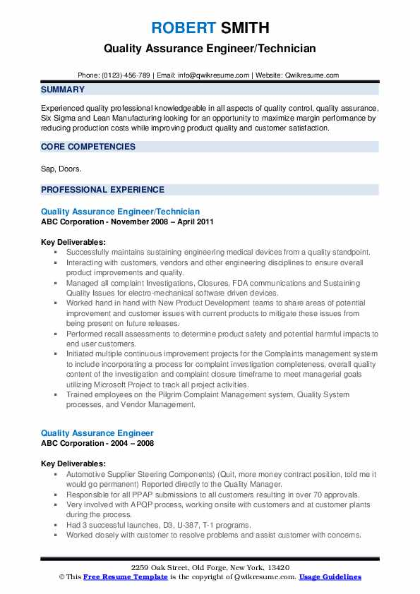 Quality Assurance Engineer/Technician Resume Format