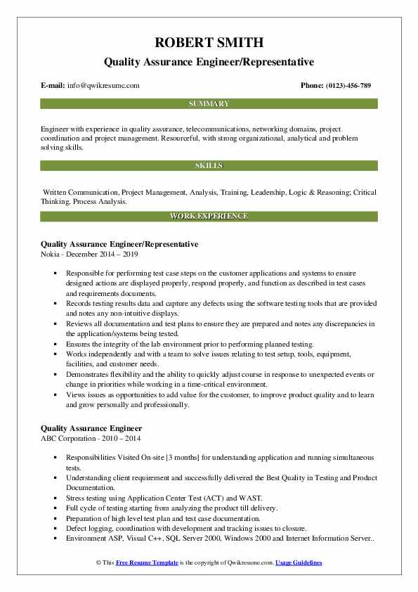 Quality Assurance Engineer/Representative Resume Format